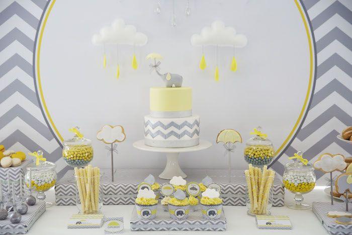 Grey Elephant themed baby shower via Kara's Party Ideas KarasPartyIdeas.com Printables, cake, decor, tutorials, recipes, cupcakes, favors, and more! #elephantparty #greyelephant #elephantbabyshower #karaspartyideas (3)
