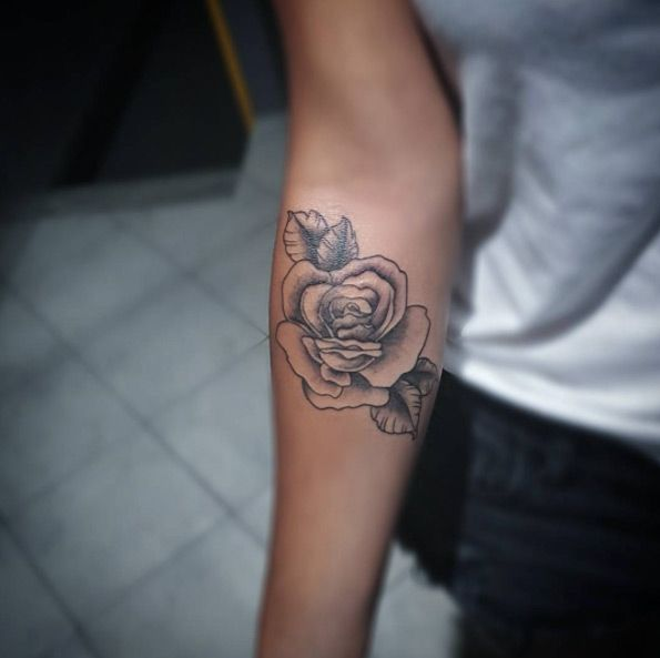 Rose Tattoo on Forearm by Maria Ink