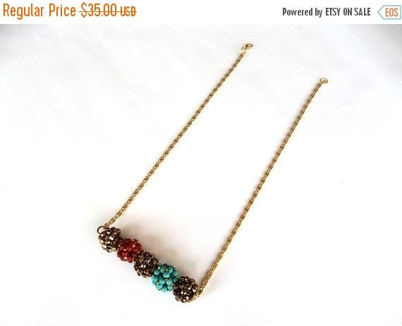 Mothers Day ON SALE Beadweaving Bar Necklace, Christmas Gift, Turquoise Coral and Metallic Brown Tones, Beaded Balls Pendant, Glass And Czec