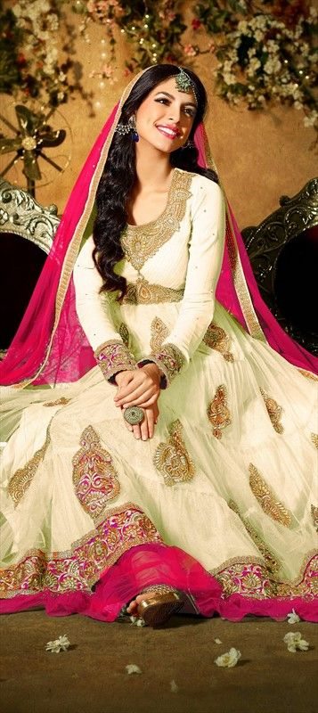 423903, Anarkali Suits, Net, Machine Embroidery, Patch, Zari, Border, Thread, White and Off White Color Family