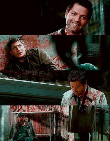 """Cas is well 'hmm' gone."" In 8 seasons i have never been as creeped out as I was in this moment. It was still misha acting, you could see that but in the space of seconds it had gone from Castiel to this taunting evil thing that was speaking through him."