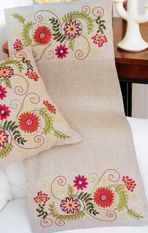 Autumn Fantasy Table Runner, embroidery