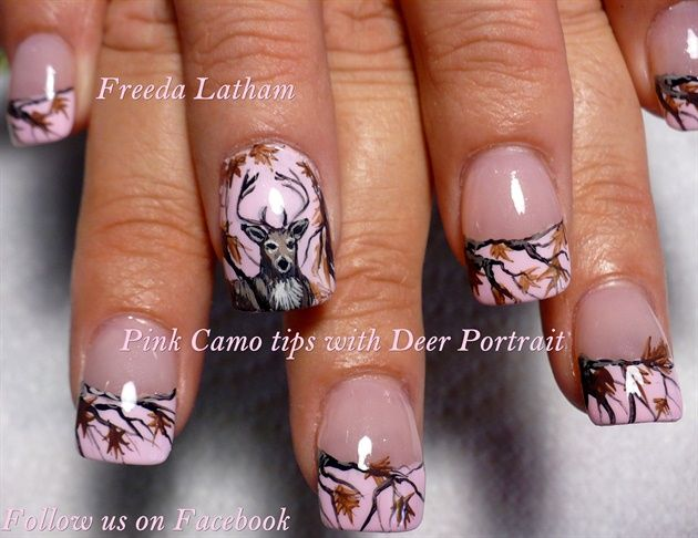 Pink Camo tips with Deer Portrait - Nail Art Gallery  http://www.ebay.com/itm/20-Pink-Camo-Nail-Decals-from-the-Freeda-Latham-Signature-Collection-/301758186920?hash=item46423085a8:g:sgUAAOSw5ZBWLqG0