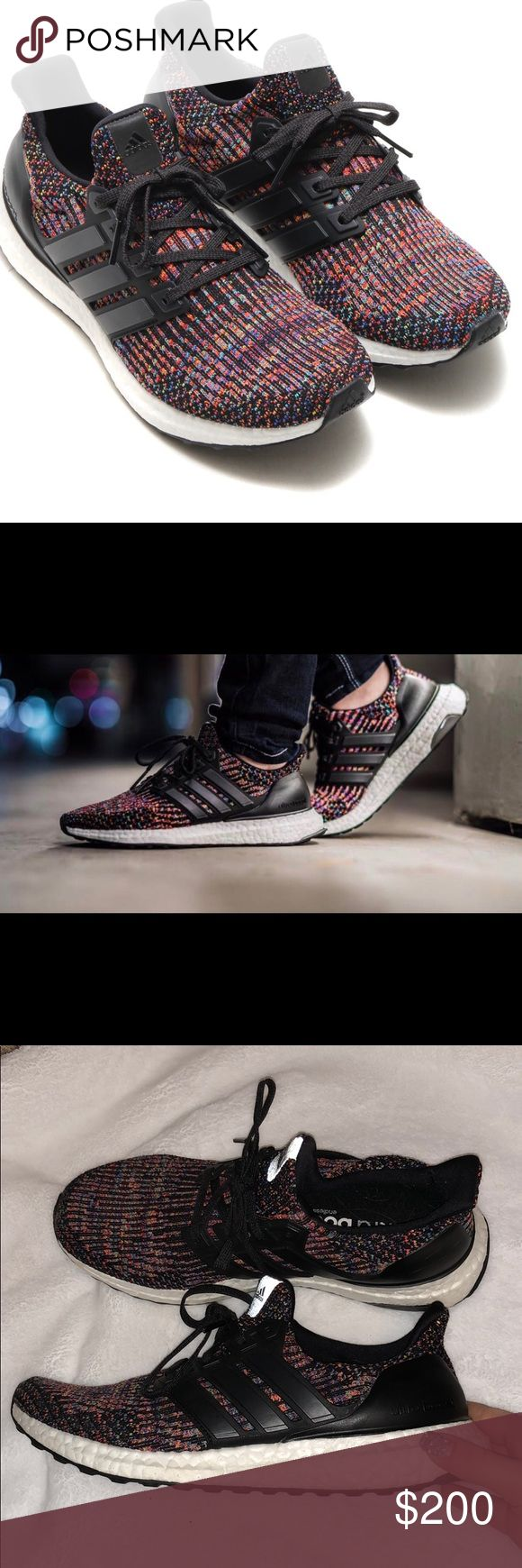 adidas ultra boost 3.0 multi-color 🌈 i bought these beauties at a store in cannes, france! worn once and sold out everywhere, they make a perfect addition to your closet 🌈✨ small scratches shown in last 2 photos, NOT noticeable at all! not in a rush to sell so please, no lowball offers and no trades 🚫 adidas Shoes Sneakers
