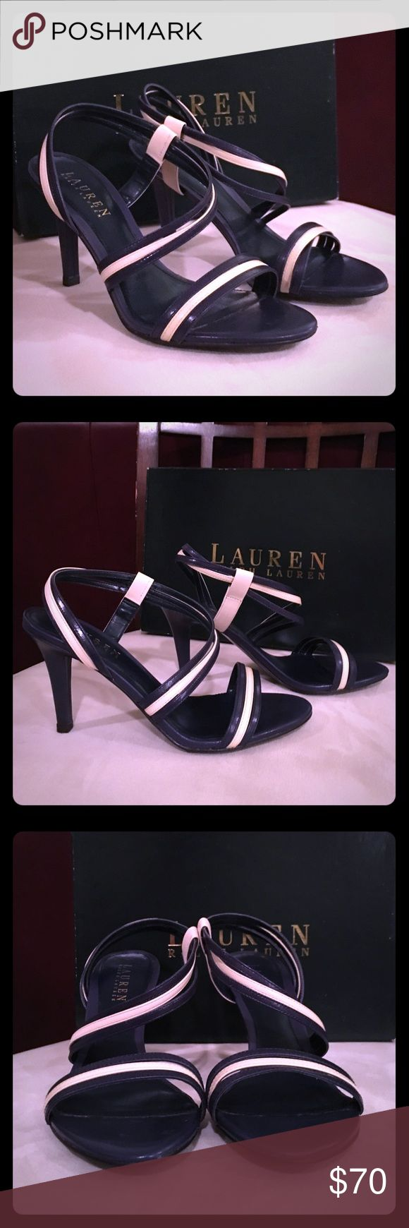 """NWT Lauren Ralph Lauren Navy/Cream Sandals Sz 7.5B NEW with Tags/NEW in Box Gorgeous Lauren Ralph Lauren """"Addie"""" PRC/MDNV Kidskin Sexy Strappy High Heel Sandals Size 7.5B!! Never Worn; Comes with Original Box; Exquisite Midnight Navy Blue and Cream Straps; Heel Measures Approximately 4 inches high; Purchased at Dillard's ⭐️Reasonable Offers Considered!!⭐️ Lauren Ralph Lauren Shoes Sandals"""