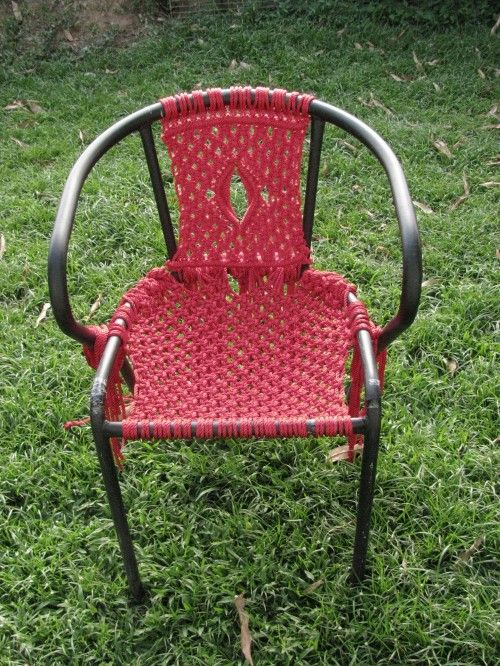 Free Macrame Lawn Chair Instructions | The full set of directions for achieving this particular design can be ...