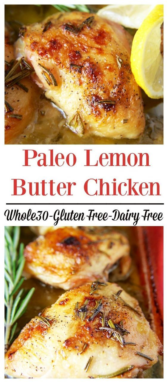 Paleo Lemon Butter Chicken- A delicious Whole30 meal. Fresh rosemary, ghee, coconut cream, and lemon make the most delicious sauce ever!!