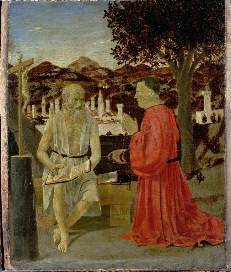 St. Jerome with a Man kneeling in Devotion (1450)  Piero della Francesca