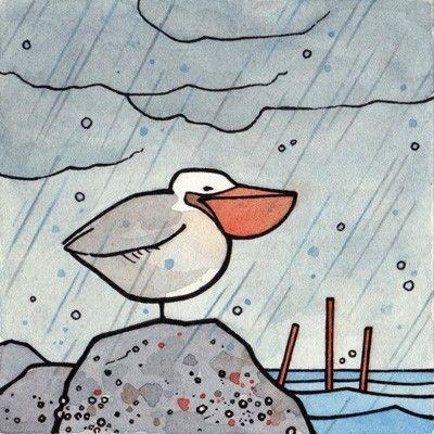 Pelican Illustration Print  rainy coastal art by studiotuesday, $6.00