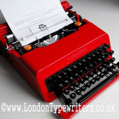 Late 1960's Olivetti Valentine manual typewriter. Rare to come across, especially in a fully working condition along with the original accessories. I love how it looks from the side too! For sale at www.LondonTypewriters.co.UK! #londontypewriters #vintage #vintagesale #vintagedecor #vintagetypewriter #retro #prop #literature #poetry #retrodecor #collectable #typewriter #typewriterfont #keys #old #london #uk #ebay #etsy #red #olivetti #1960s