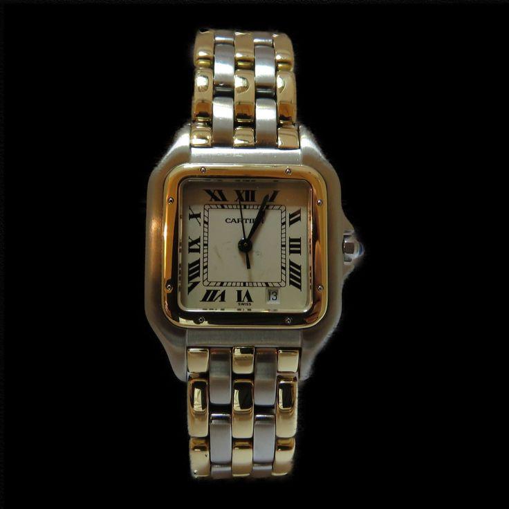 """à vendre : 2200€ Montre CARTIER Grand Modèle  modèle """"Panthère"""" vers 1995  en Or jaune 18 carats et Acier  bracelet or jaune 18 carats et Acier  3 rangs d'or  Cadran blanc d'origine (traces)  Possibilité de refaire gratuitement  mouvement quartz  Dimensions :  26 mm x 36 mm  Longueur : 18.50 cm  Boite Cartier.  Nos montres sont en état neuf ,révisées,  vendues avec facture et garantie 1 an ."""