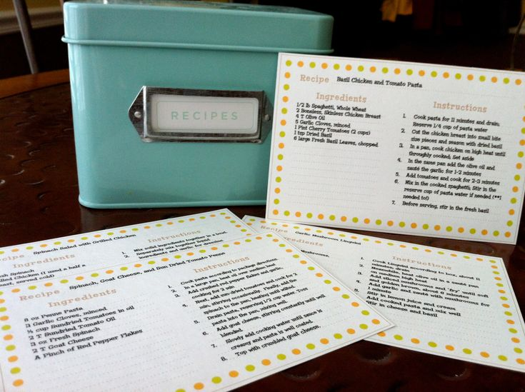 recipe cards for word
