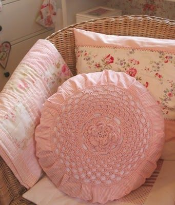 Pretty pillow with crochet centre from My Country Cottage Garden