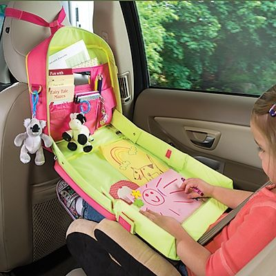 Interesting idea. The tray has sides so that little toys or crayons won't roll off. Attaches to car or can be worn as a backpack.