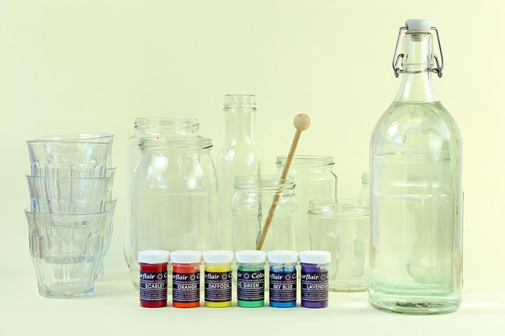 Glass bottles, coloured food dye - ready for for today's science experiment.