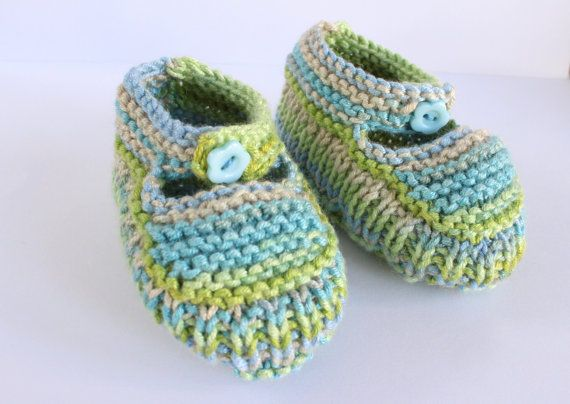 Colourful Booties Blue Green Booties Hand Knit by Pinknitting
