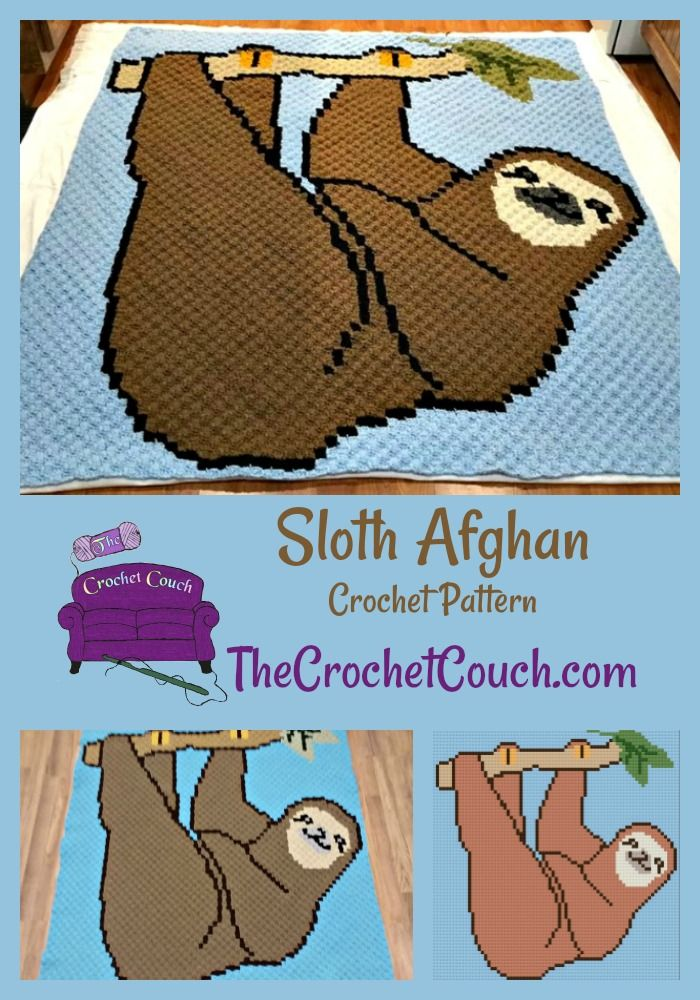 Sloth Afghan, C2C Crochet Pattern   Crochet Graph Patterns