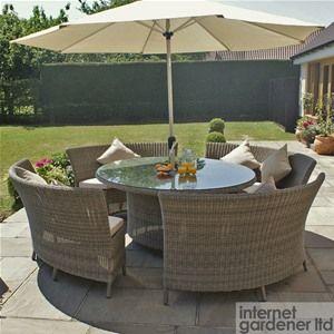 Maze Rattan Winchester Oval Dallas 10 Seat Garden Furniture Set