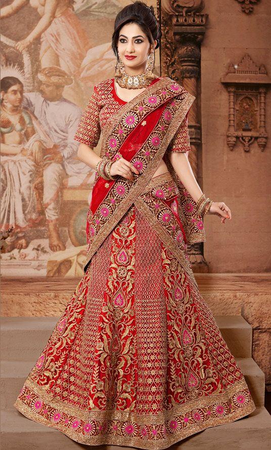 USD 374.93 Red Net Wedding Lehenga Choli 47287