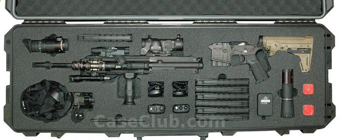 custom foam polyethylene insert holds rifle parts and accessories in pelican 1700 case