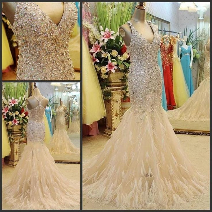 Luxury Crystals Sparkly Prom Pageant Dresses for Women Sale Cheap 2016 Long With Ostrich Feathers Mermaid Champagne Formal Evening Gowns