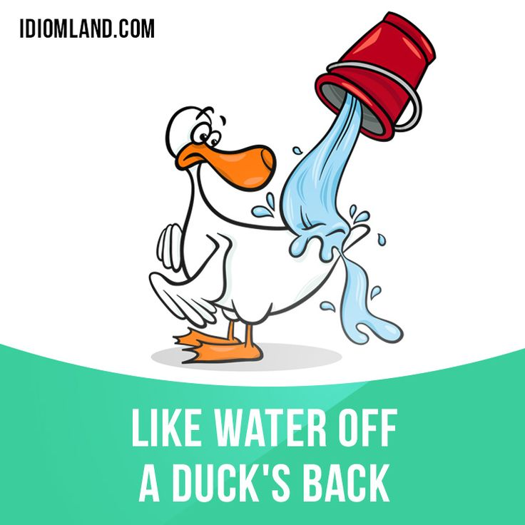 """Like water off a duck's back"" means ""without any apparent effect"". Example: She calls him lazy and useless, but it's like water off a duck's back."