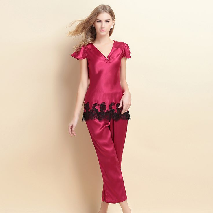 2015 new short-sleeved silk pajamas female piece 100% silk pajamas silk pajamas suit USD$106.87