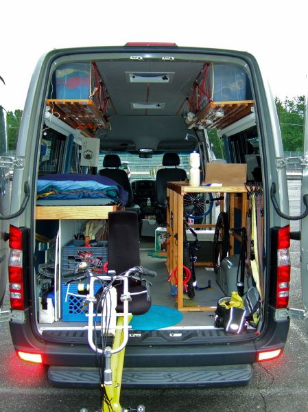 Sprinter van conversion. Needs to be prettied up though,  I do like the light weight build ins