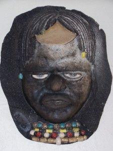 Masque1 africain 2008, argile Raku