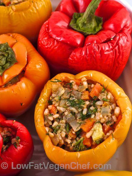 Fat Free Vegan Greek Rice Stuffed Peppers Recipe