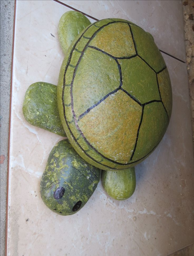 Tortuga de piedras piedras pintadas pinterest for Piedras pintadas para jardin