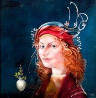 Női portré gyöngydíszes kalapban Szász Endre