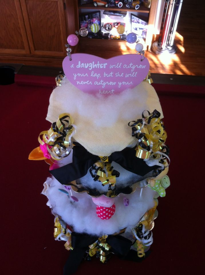 My 1st carrousel diaper cake Spins around to show a beautiful display