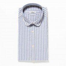 [ニューイングランド] New England OXストライプ ラウンドカラーシャツ イタリア製