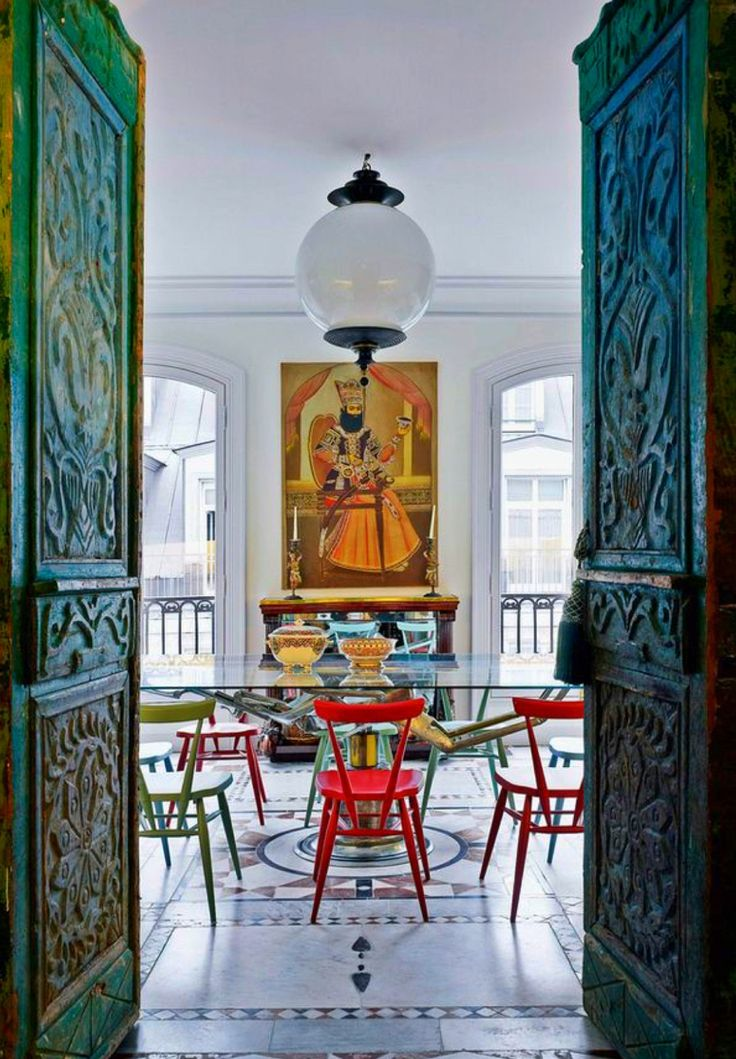 Chinoiserie Chic | Tall Carved Green Wooden Doors, Red Chairs