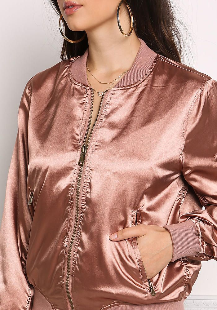 Rose Gold Satin Zipper Bomber Jacket                                                                                                                                                                                 More