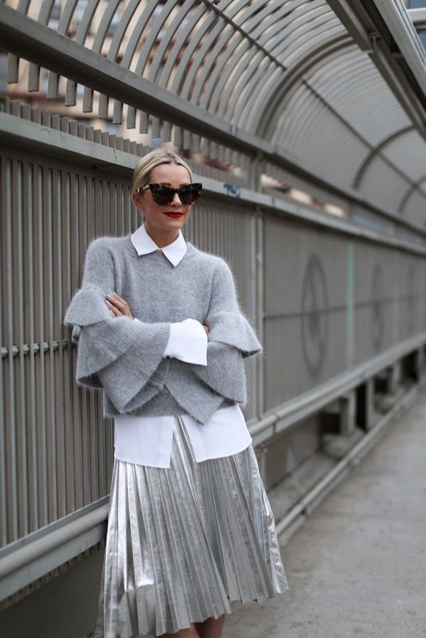 GRAY DAY // PACIFIC HAZE Blair Eadie at Atlantic-Pacific: woolen sweater, white collared shirt, metallic silver wide skirt