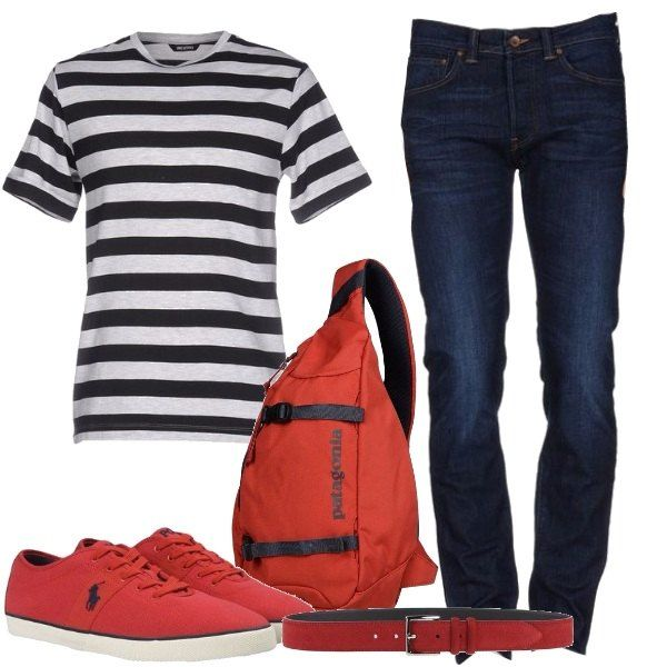 Una t-shirt a righe ti serve proprio nel tuo guardaroba e la puoi abbinare ad un jeans con lavaggio scuro, a vita normale e a gamba dritta. Completa il look adatto per tutti i giorni con delle sneakers stringate rosse con punta tonda, con una cintura ad effetto scamosciato e con un o zainetto in tessuto tecnico. Potresti aggiunge un bomber in caso di temperature incerte.