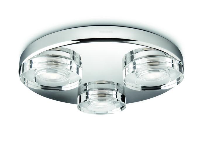 Mira - lampa sufitowa, oświetlenie do łazienki. Wymiary: wysokość - 5,6 cm, długość - 32 cm, szerokość - 32 cm #LED #PhilipsLighting #bathroom #lighting
