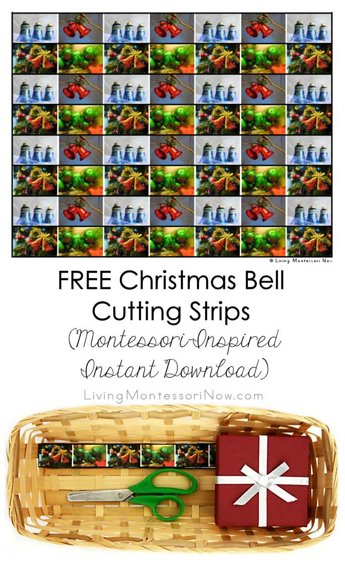 These free Christmas bell cutting strips are a fun holiday activity for working on scissor cutting skills for toddlers and preschoolers; post includes the Montessori Monday linky collection.