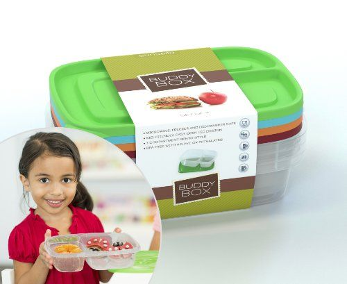 Buddy Box Set of 4 Bento Style Lunch Boxes, High Quality, BPA Free - NOT LEAKPROOF - Microwave, Freezer & Dishwasher Safe - Meets FDA Standards - Keeps Food Separated, Perfectly Sized Portions, Child Friendly Lids, Great For School or Office Lunches Sunsella,http://www.amazon.com/dp/B00FOIAD8W/ref=cm_sw_r_pi_dp_Hh9atb18YGGMXM56