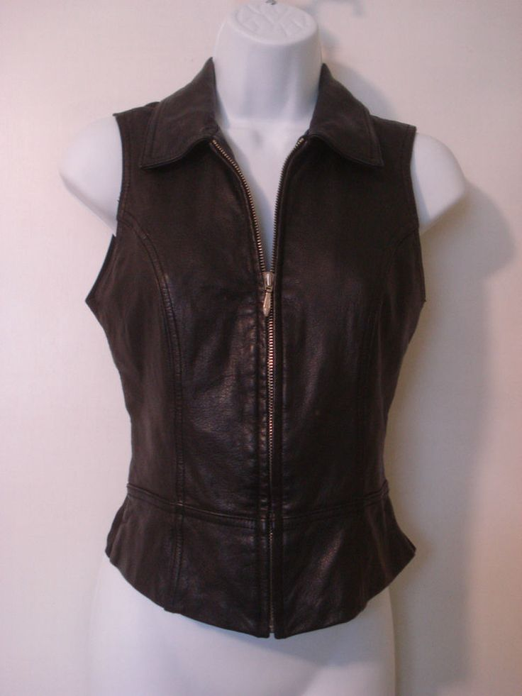 Wilsons Leather Motorcycle Leather Vest Women's XSmall Black #WilsonsLeather