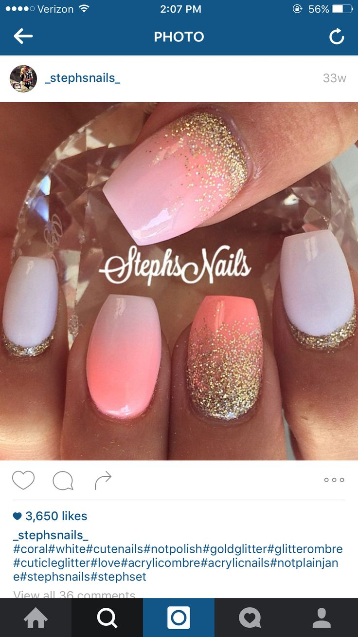 Summer nails coral white gold glitter ombré