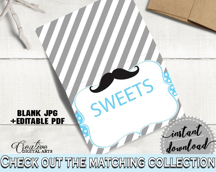 Food Tents, Baby Shower Food Tents, Mustache Baby Shower Food Tents, Baby Shower Mustache Food Tents Blue Gray printable files - 9P2QW #babyshowerparty #babyshowerinvites