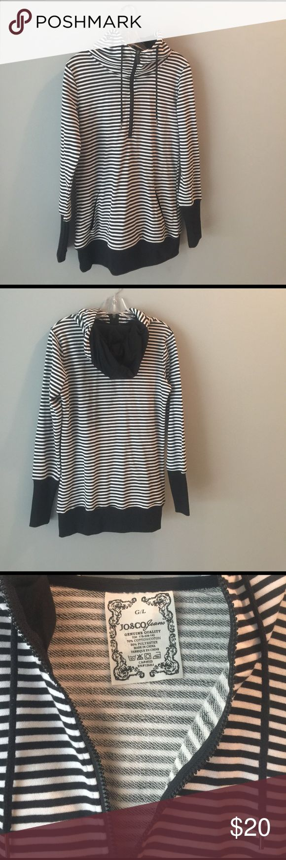 Black and white striped hoodie. NWOT. Super comfy & cute black and white striped half zip up hoodie.   NWOT .  Great for a beach coverup or a work out. JO & CO jeans  Tops Sweatshirts & Hoodies