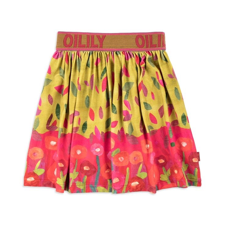 OILILY Girls 'Tiptop' Jersey Skirt - Multi From £39 Girls jersey skirt • Soft stretchy cotton • Elasticated branded waistband • Fully flared style • Colourful floral print • Material: 95% Cotton, 5% Elastane