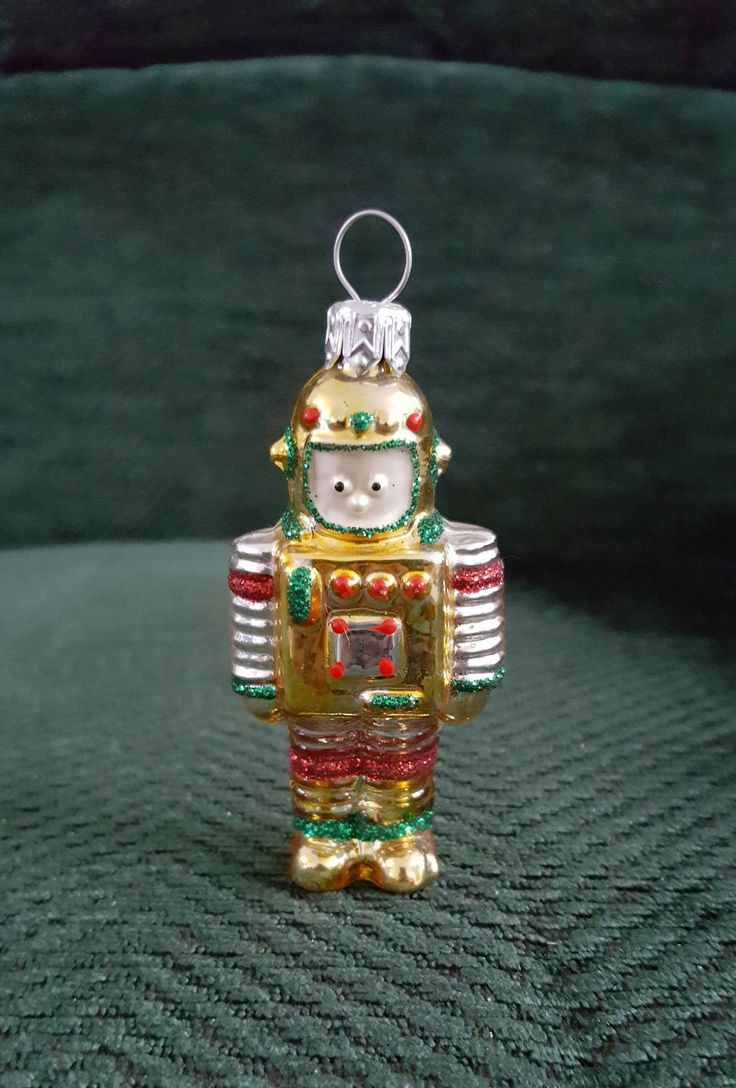 Blown Glass mini Robot Christmas Tree Ornament Decoration or Bauble by ukbeadsonline on Etsy