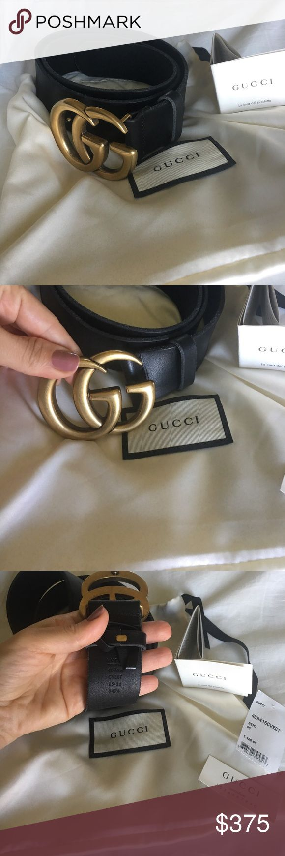 Authentic marmont Gucci belt Black with gold Gucci buckle in size 85 brand new with tags and dust bag. Bought from neiman Marcus for over $400 no low balls no trades 100% Authentic guaranteed Gucci Accessories Belts