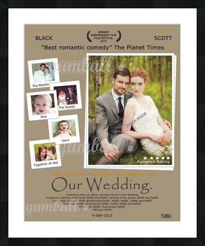 Wedding poster. Make an impact. Personalized wedding movie poster by Gumball Prints
