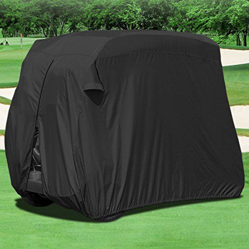NEH Waterproof Superior Black Golf Cart Cover Covers Club Car EZGO Yamaha Fits Most TwoPerson Golf Carts ** Read more reviews of the product by visiting the link on the image. Note:It is Affiliate Link to Amazon.
